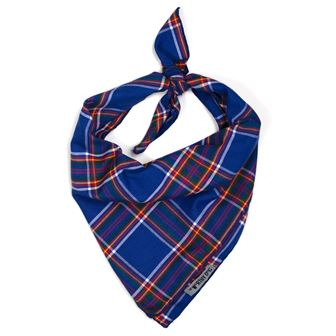 The Worthy Dog Tie Bandana, Royal Plaid, Large