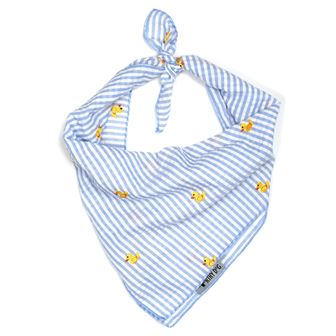 The Worthy Dog Tie Bandana, Lt. Blue Stripe Rubber Duck, Large