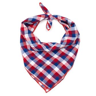 The Worthy Dog Tie Bandana, Red, White & Blue Check, Large