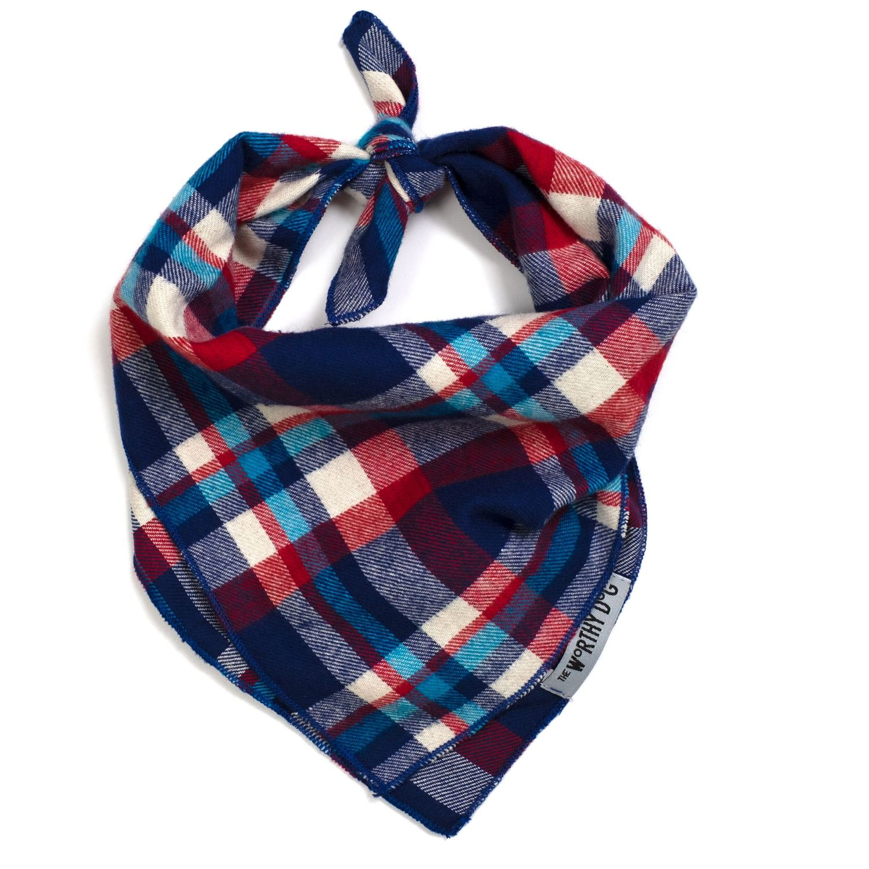 The Worthy Dog Tie Bandana, Navy, Red & Turq plaid, Large