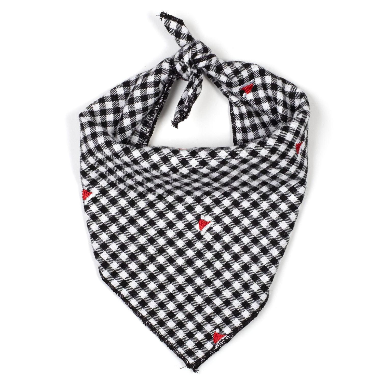 The Worthy Dog Tie Bandana, Check Santa Hats, Large