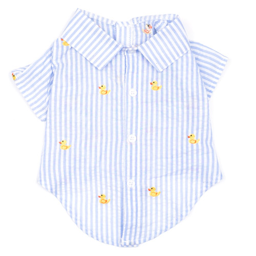 The Worthy Dog Shirt, Lt. Blue Stripe Rubber Duck, X-Small