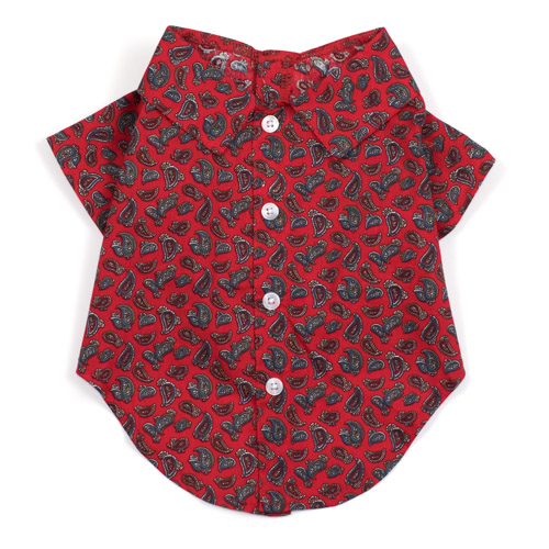 The Worthy Dog Shirt, Paisley Red, X-Small