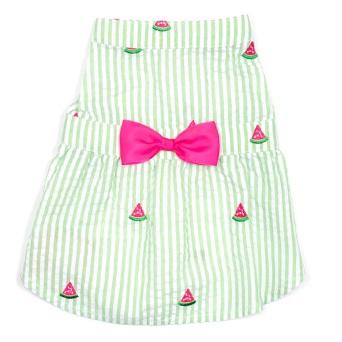 The Worthy Dog Dress, Green Stripe Watermelon, Large