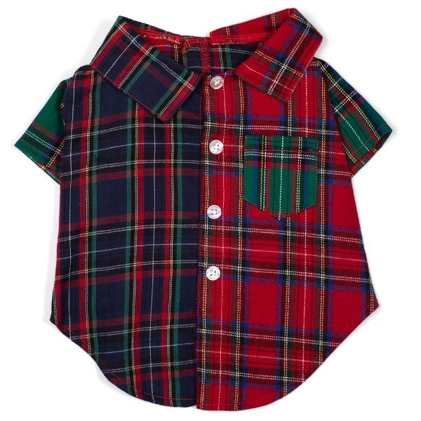 The Worthy Dog Shirt, Colorblock Tartan, Medium