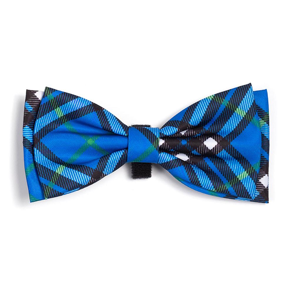 The Worthy Dog Bow Tie, Bias Plaid Blue, Large
