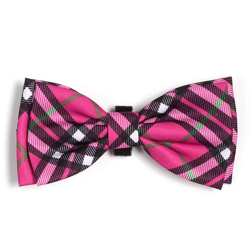 The Worthy Dog Bow Tie, Bias Plaid Hot Pink, Large
