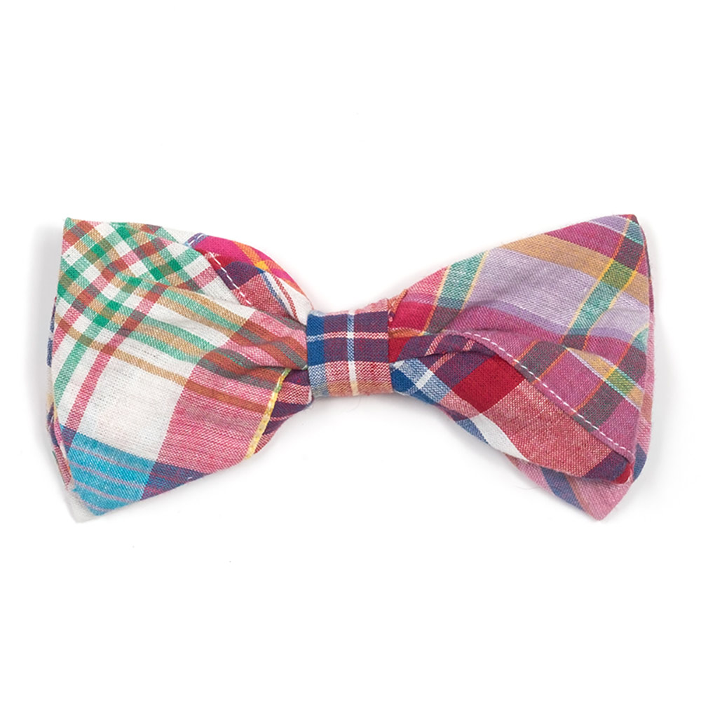 The Worthy Dog Bow Tie, Bright Patch Madras, Small