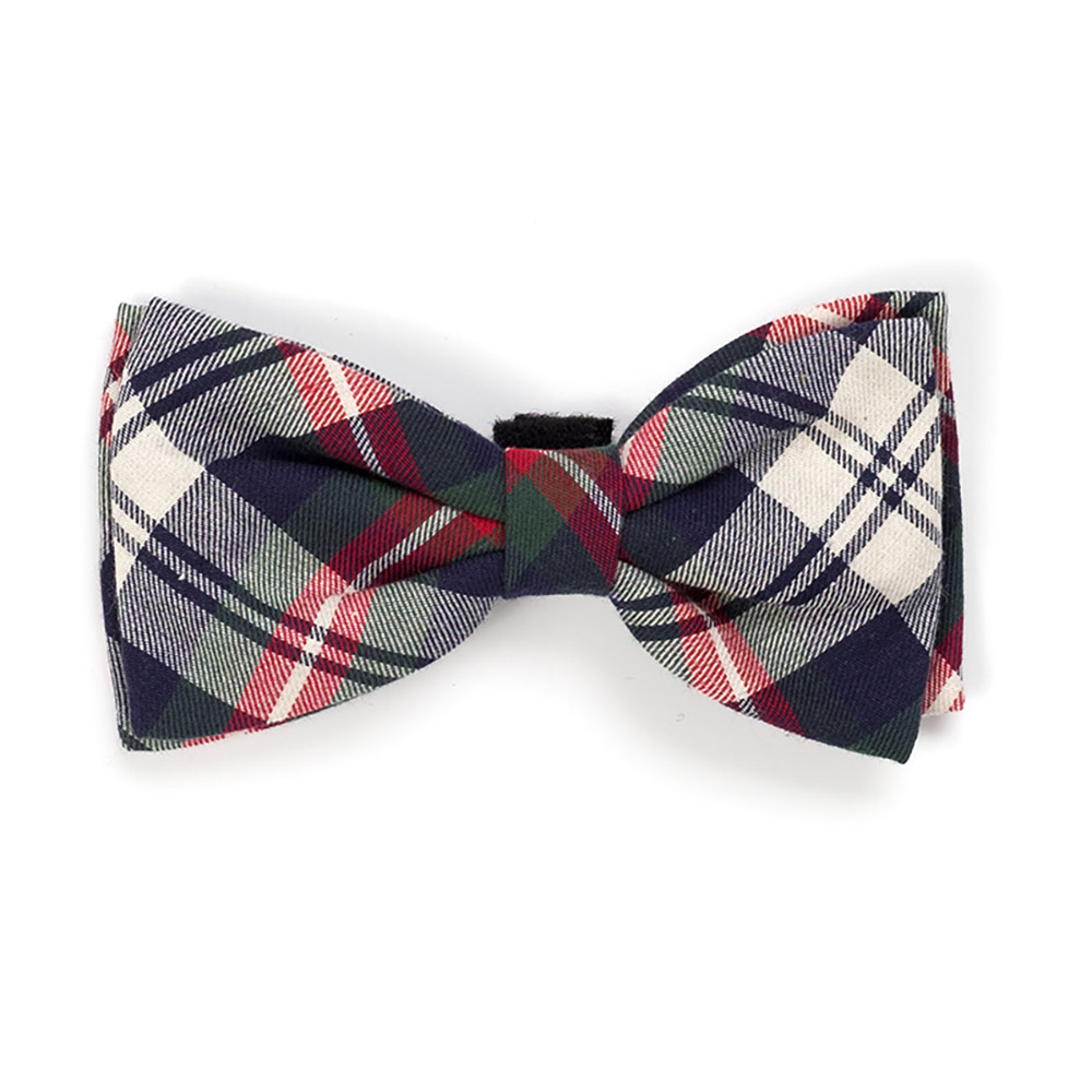 The Worthy Dog Bow Tie, Navy Plaid, Small