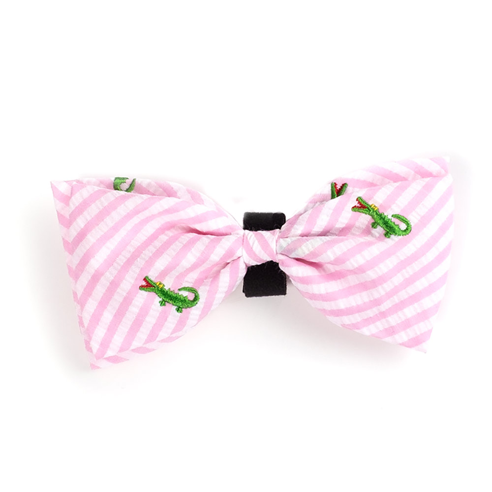 The Worthy Dog Bow Tie, Pink Stripe Alligator, Large