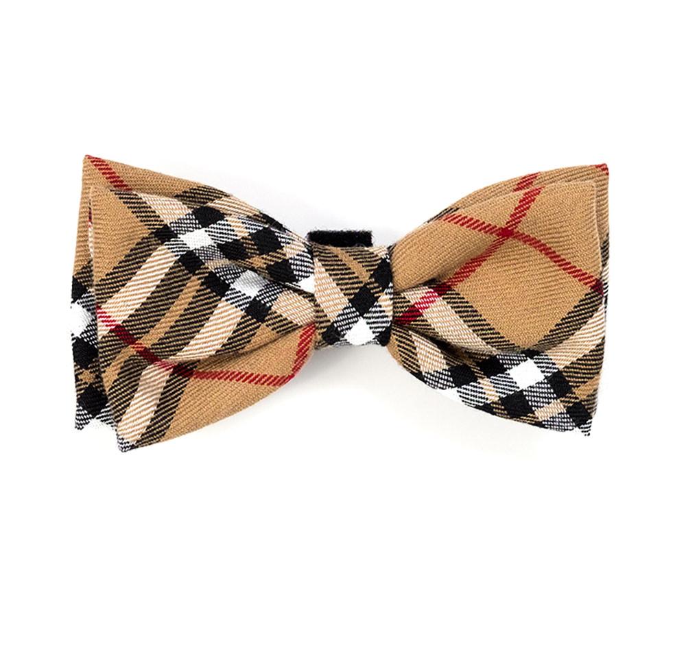 The Worthy Dog Bow Tie, Tan Plaid, Small