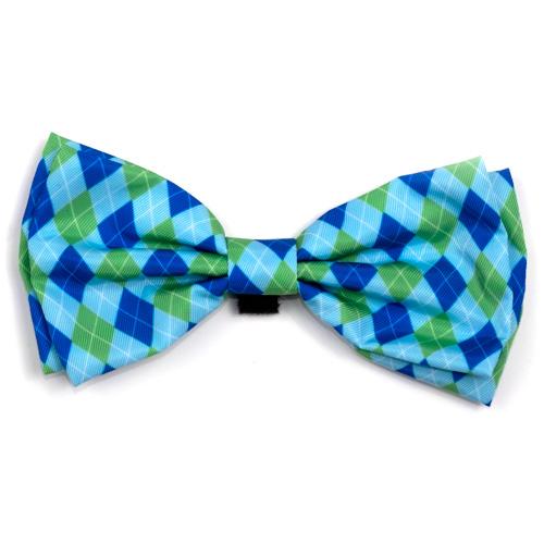 The Worthy Dog Bow Tie, Preppy Argyle Blue, Large