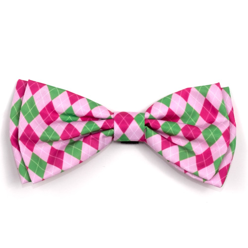The Worthy Dog Bow Tie, Preppy Argyle Pink, Large