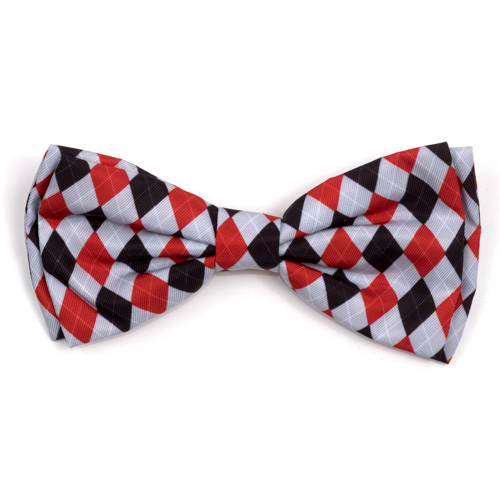 The Worthy Dog Bow Tie, Preppy Argyle Red & Gray, Large