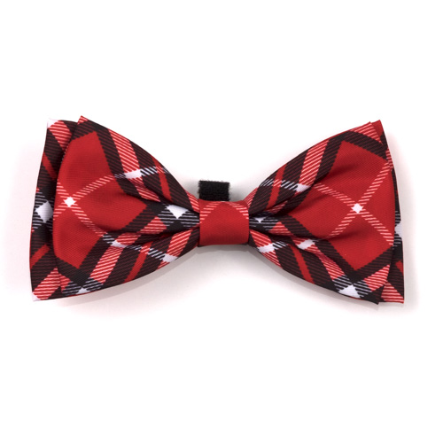 The Worthy Dog Bow Tie, Bias Plaid Red, Small