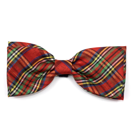 The Worthy Dog Bow Tie, Holiday Red Lurex Plaid, Large