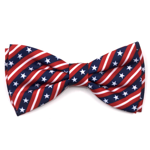 The Worthy Dog Bow Tie, Stars and Stripes, Large