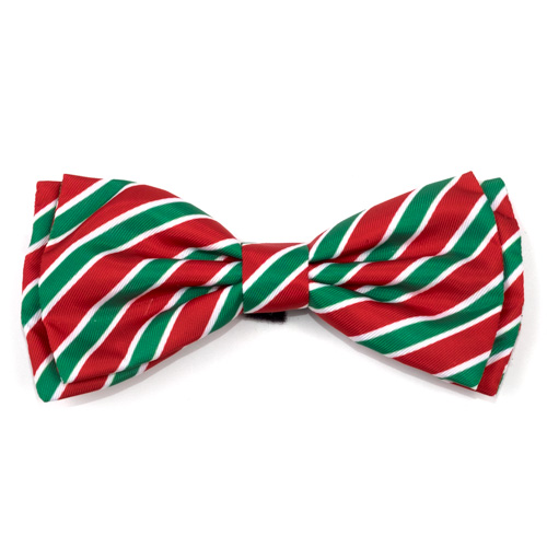 The Worthy Dog Bow Tie, Holiday Stripe, Large