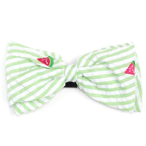 The Worthy Dog Bow Tie, Green Stripe Watermelon, Small