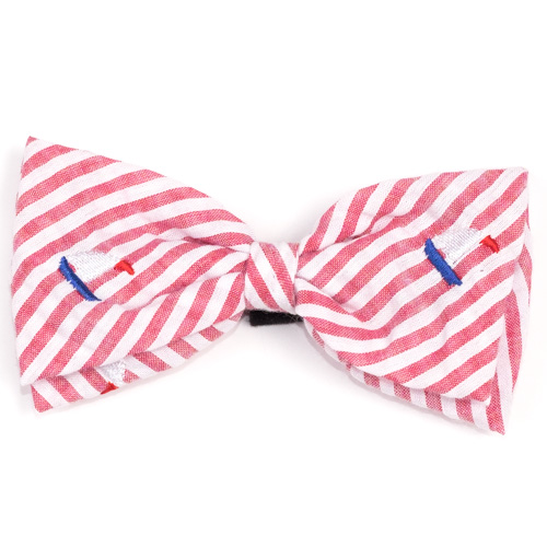 The Worthy Dog Bow Tie, Red Stripe Sailboat, Small