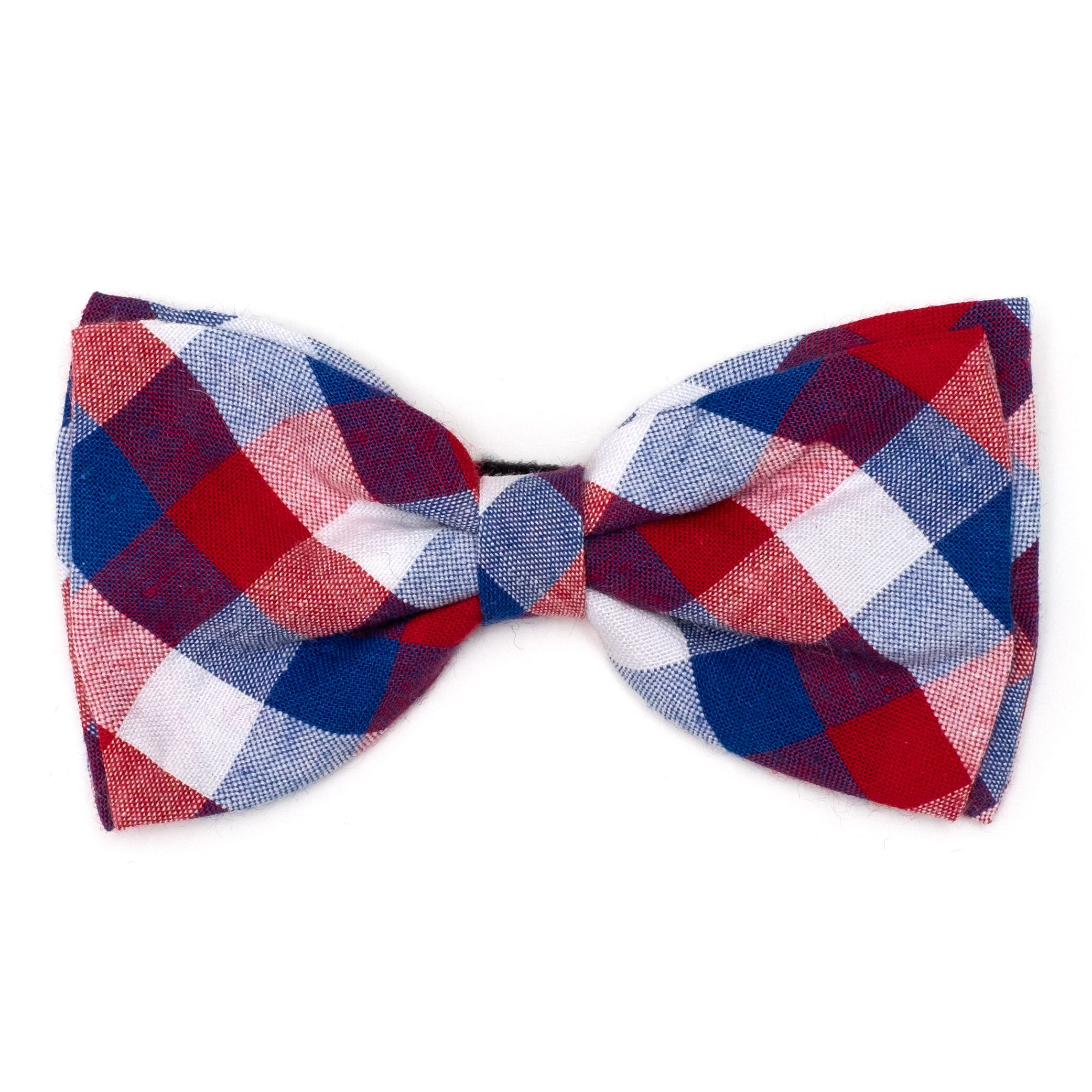 The Worthy Dog Bow Tie, Red, White & Blue Check, Large