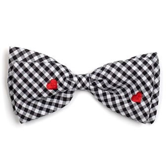 The Worthy Dog Bow Tie, Gingham Hearts, Small