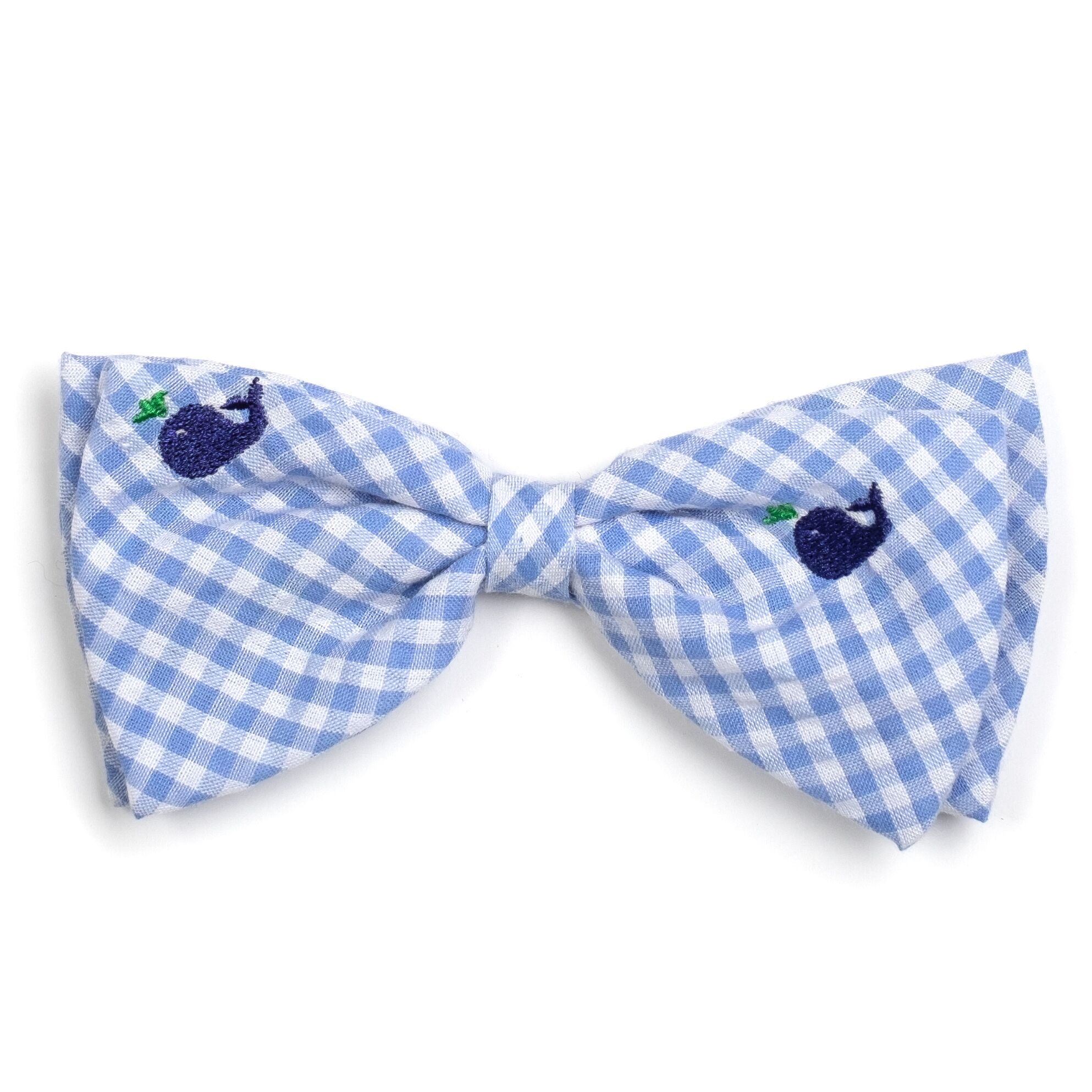 The Worthy Dog Bow Tie, Gingham Whales, Large