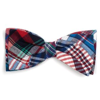 The Worthy Dog Bow Tie, Blue Multi Patch Madras, Large