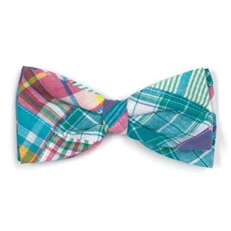 The Worthy Dog Bow Tie, Turq Multi Patch Madras, Large