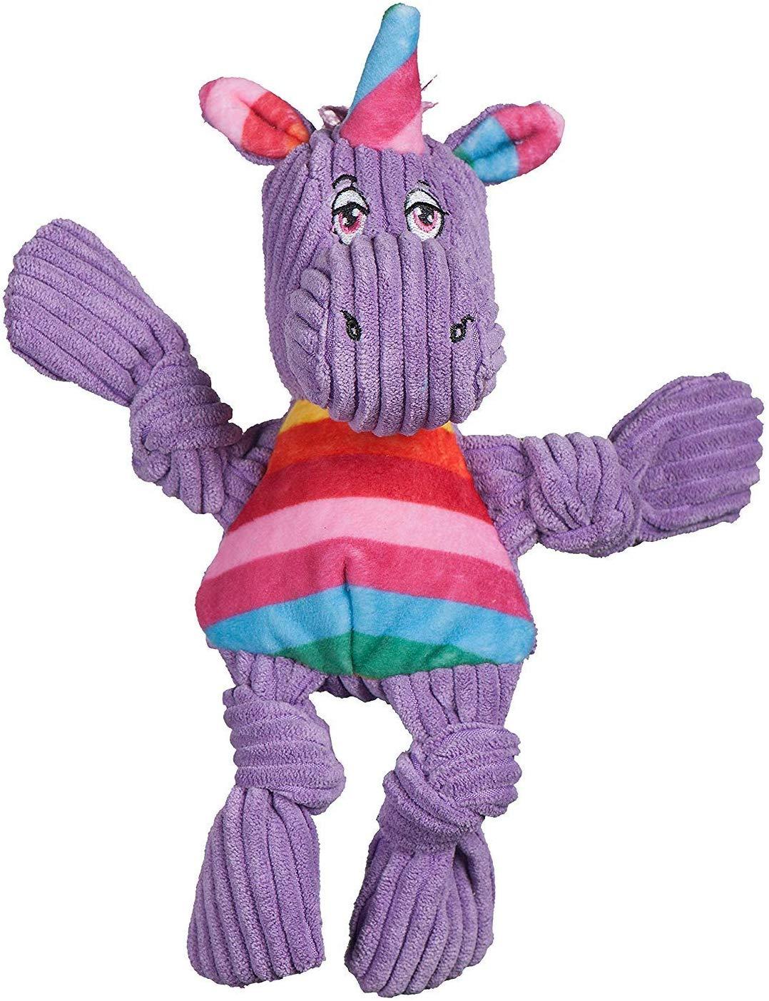 HuggleHounds Knottie Rainbow Unicorn Dog Toy, Wee