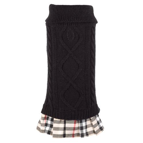 The Worthy Dog Dress, Turtleneck Black & Tan, XX-Small