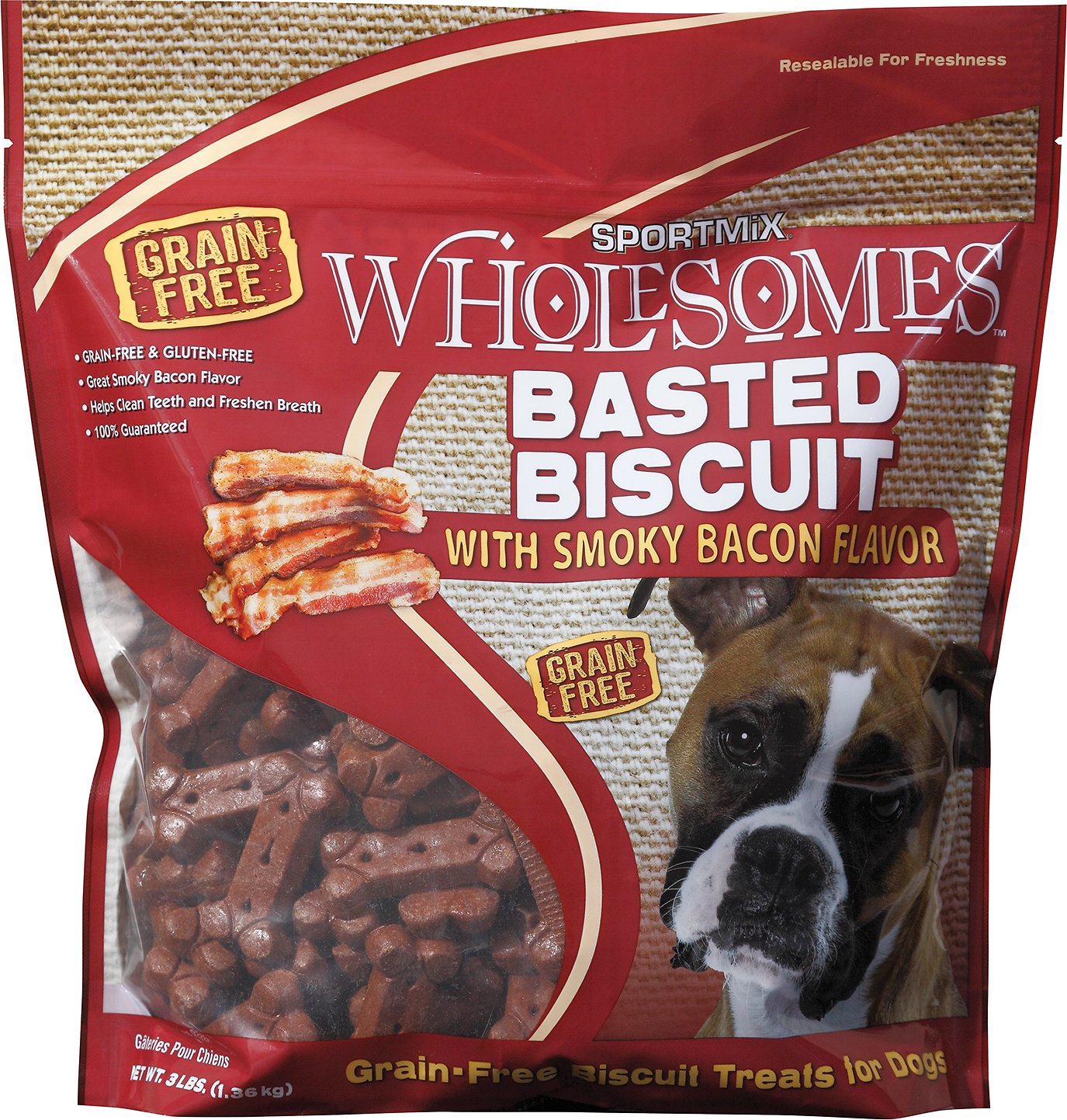 SPORTMiX Wholesomes Grain-Free Premium Basted Biscuit with Hickory Smoked Flavor Dog Treats