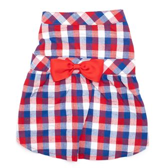 The Worthy Dog Dress, Red, White & Blue Check, Small