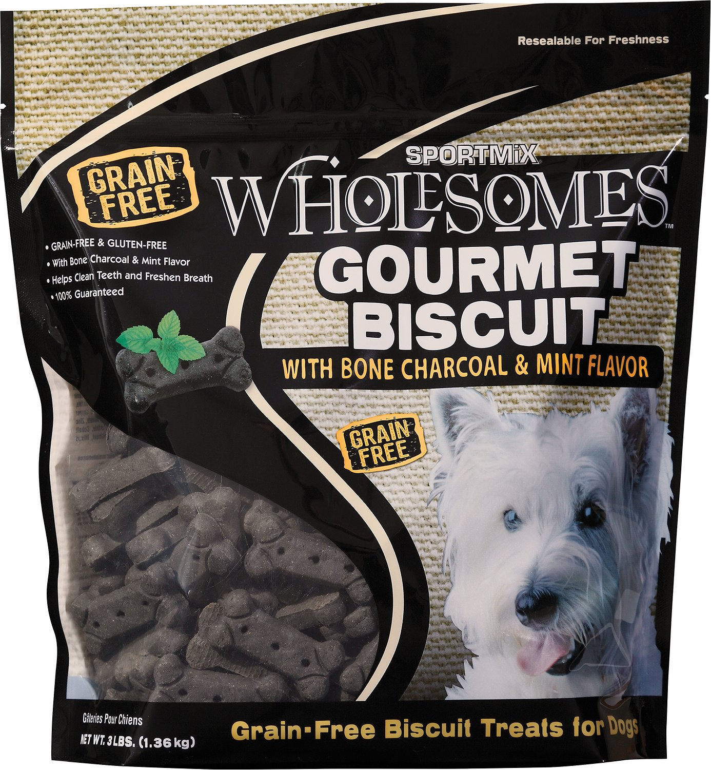 SPORTMiX Wholesomes Grain-Free Premium Medium Gourmet Biscuit with Natural Bone Charcoal & Mint Flavor Dog Treats