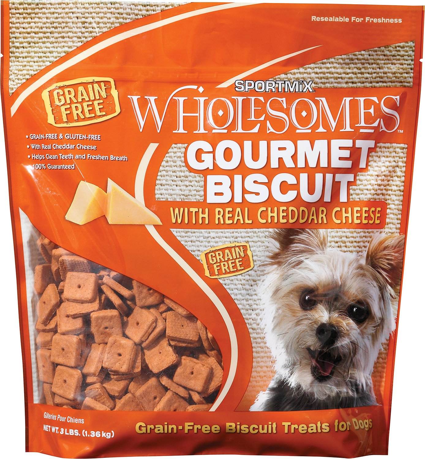 SPORTMiX Wholesomes Grain-Free Premium Gourmet Biscuit with Real Cheddar Cheese Dog Treats
