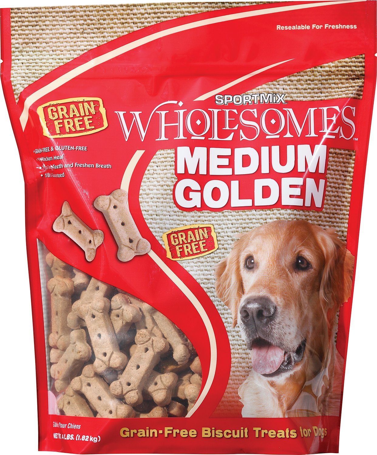 SPORTMiX Wholesomes Grain-Free Medium Golden Biscuit Dog Treats