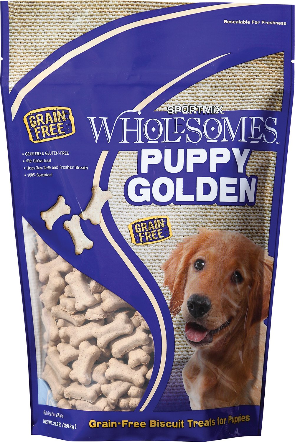 SPORTMiX Wholesomes Grain-Free Puppy Golden Biscuit Dog Treats, 2-lb