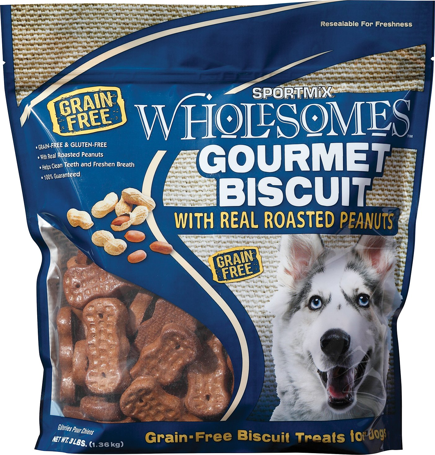 SPORTMiX Wholesomes Grain-Free Premium Gourmet Biscuit with Roasted Peanuts Dog Treats Size: 3-lb bag