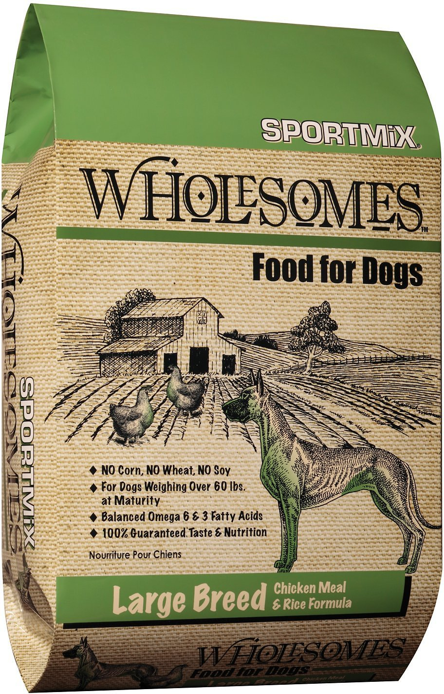 SPORTMiX Wholesomes Large Breed with Chicken Meal & Rice Formula Adult Dry Dog Food, 40-lb bag