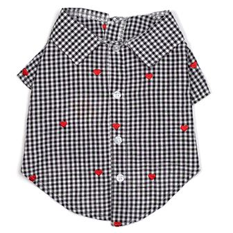 The Worthy Dog Shirt, Gingham Hearts, Small