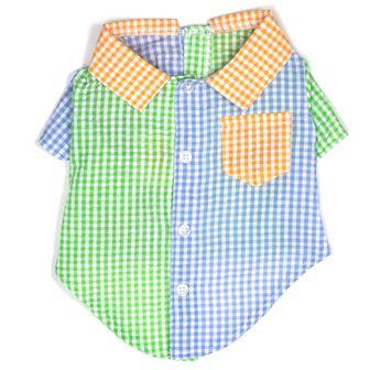The Worthy Dog Shirt, Gingham Colorblock, Medium