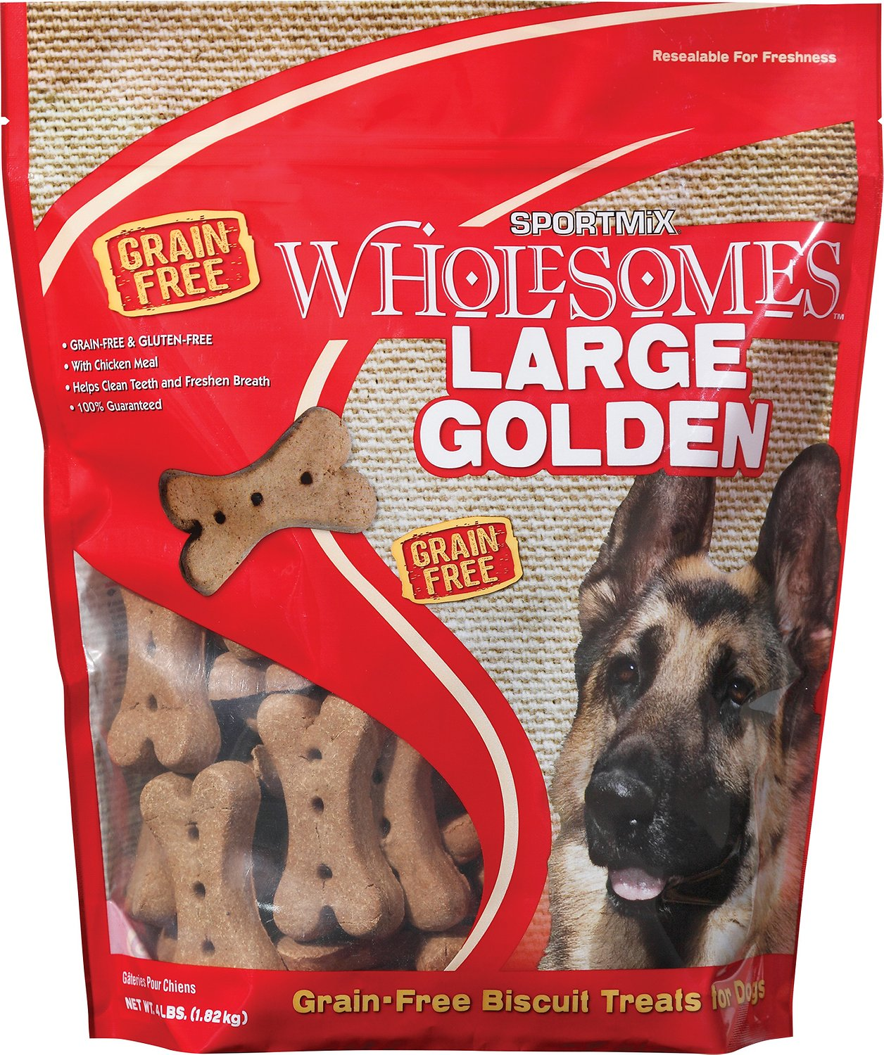 SPORTMiX Wholesomes Grain-Free Large Golden Biscuit Dog Treats, 4-lb