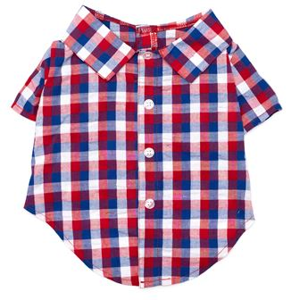 The Worthy Dog Shirt, Red, White & Blue Check, X-Small