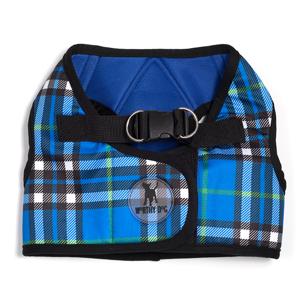 The Worthy Dog Sidekick Harness, Printed Blue Plaid, 3X-Large (32-36-in)