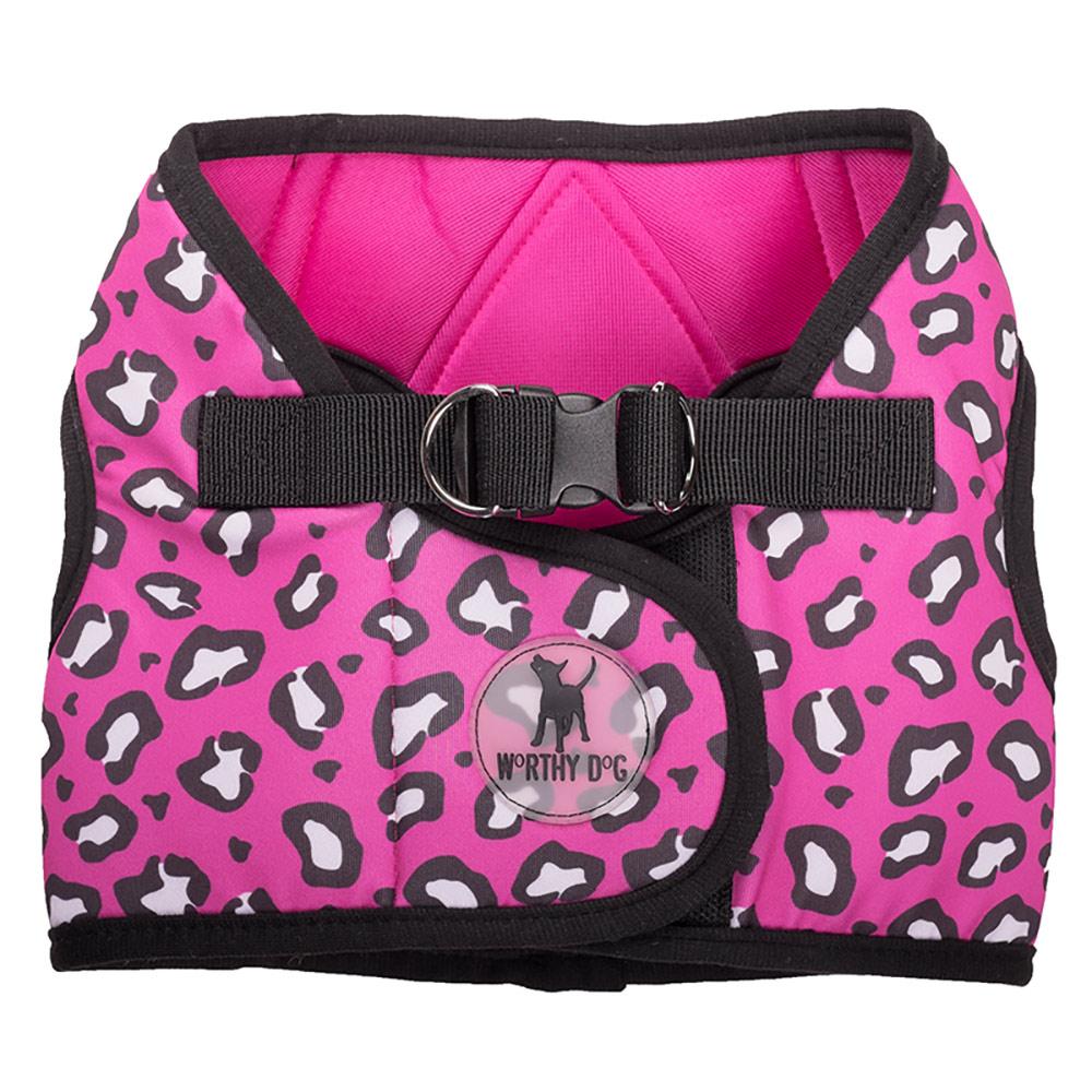 The Worthy Dog Sidekick Harness, Printed Cheetah Pink, XX-Small (12-14-in)