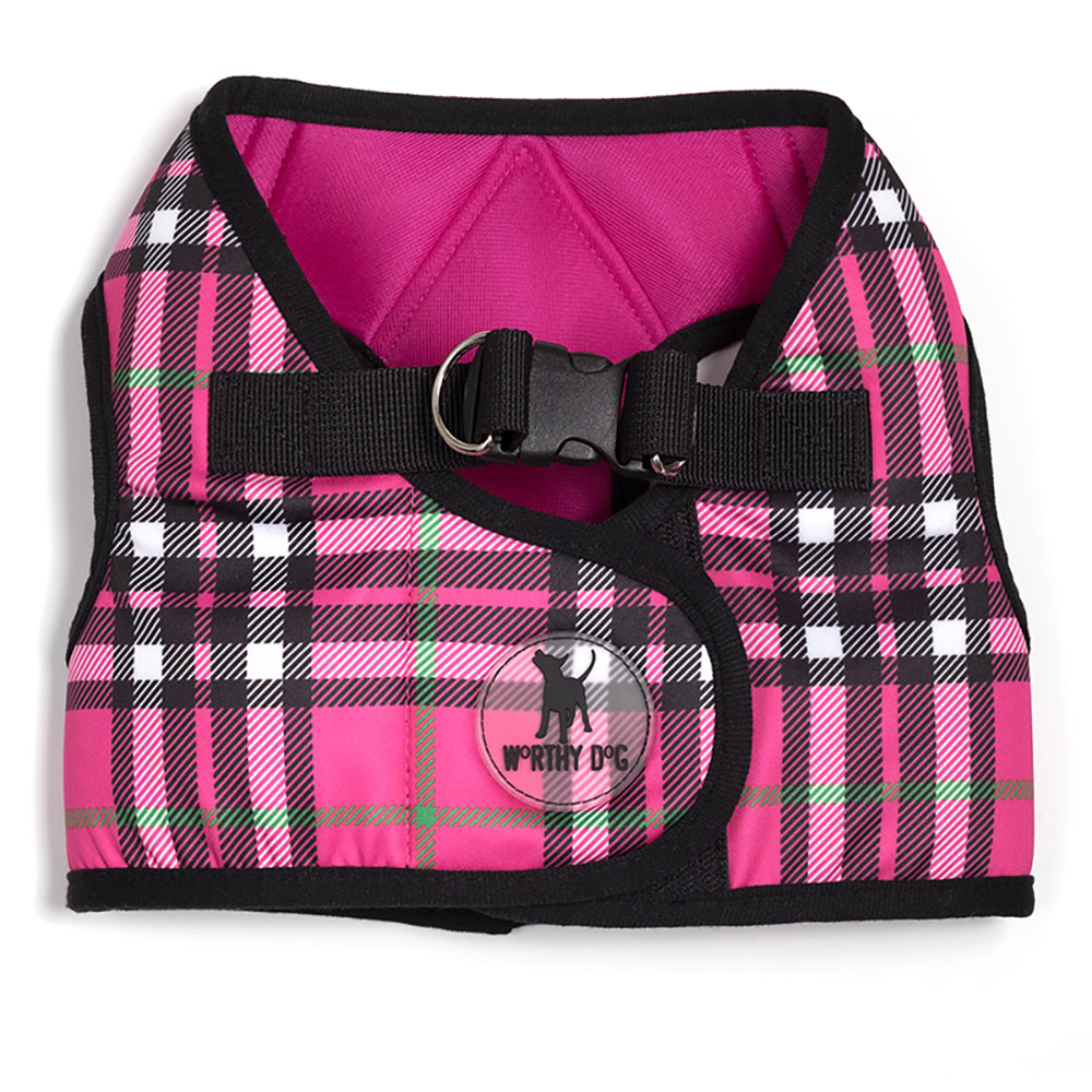 The Worthy Dog Sidekick Harness, Printed Hot Pink Plaid, 3X-Large (32-36-in)