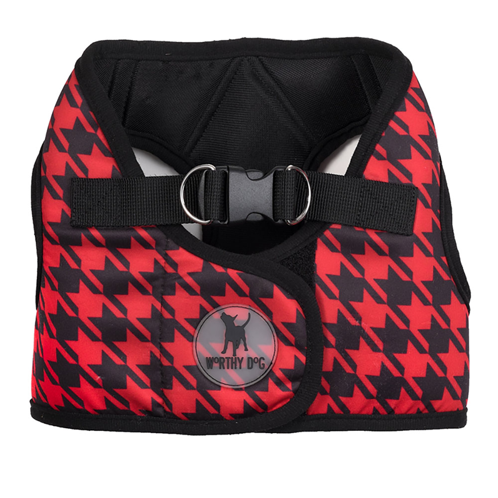 The Worthy Dog Sidekick Harness, Printed Houndstooth, Tiny (9-11-in)