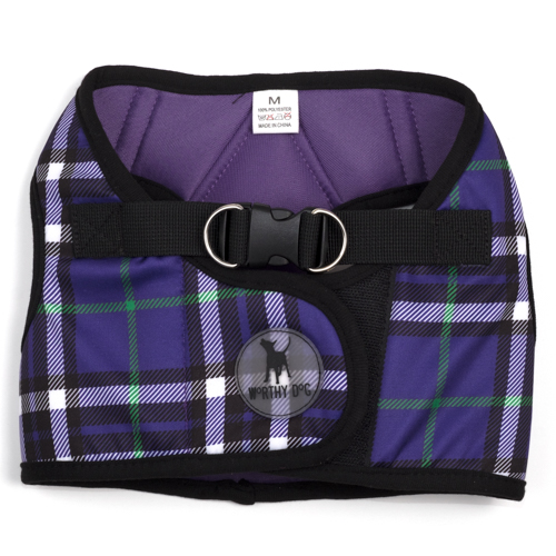 The Worthy Dog Sidekick Harness, Printed Purple Plaid, XX-Small (12-14-in)