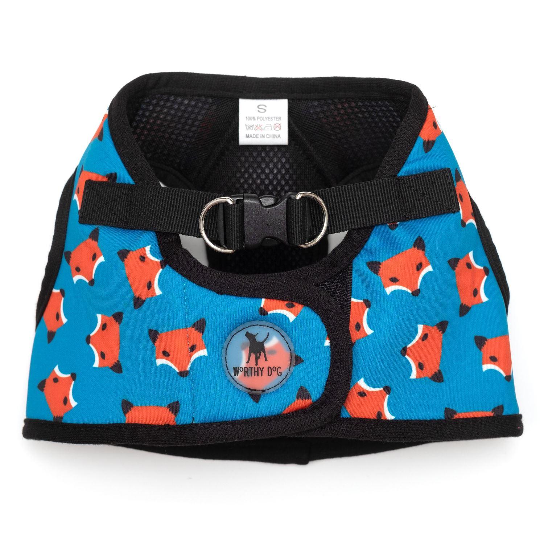 The Worthy Dog Sidekick Harness, Printed Foxy, XX-Small (12-14-in)