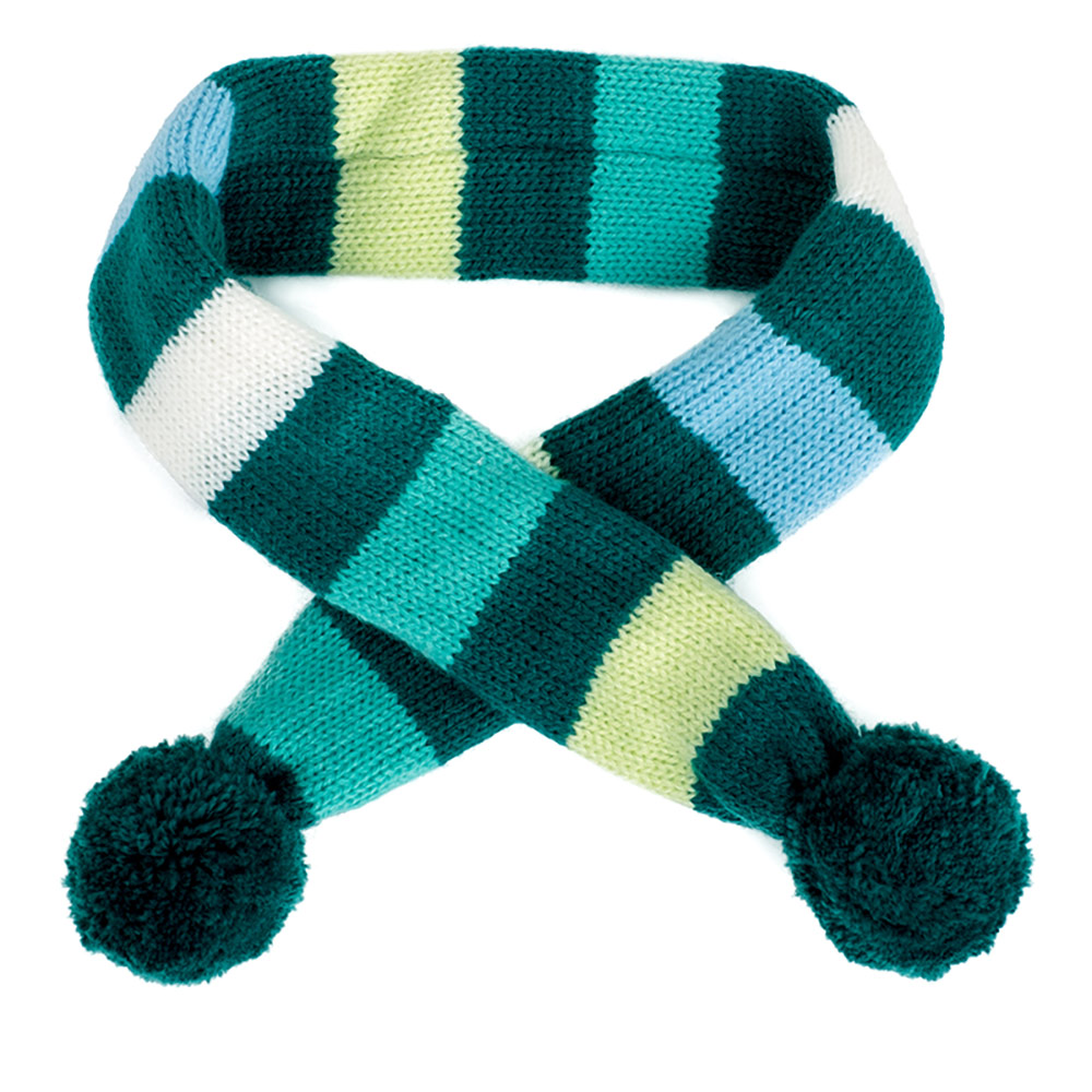 The Worthy Dog Scarf, Dapper Stripe Teal, X-Small